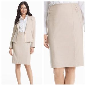 White House I Natural Suiting Pencil Skirt 00 WHBM